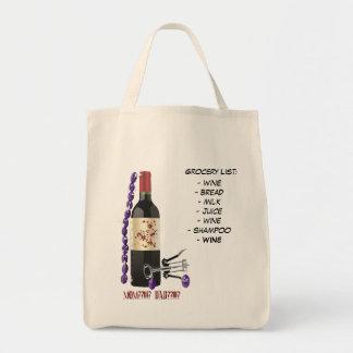 Grocery List:, - wine- bread- milk- ju... Bag