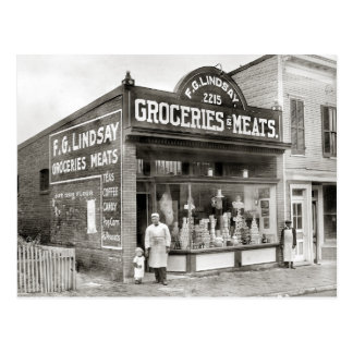 Grocery & Meat Market, 1916 Postcard