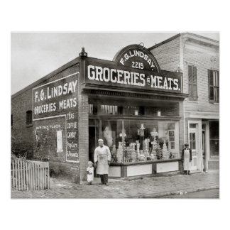 Grocery & Meat Market, 1916 Posters