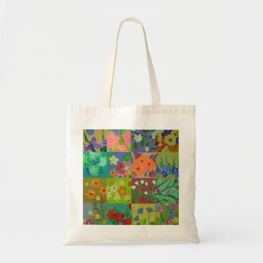 Grocery Shopping Bag with Flower Patchwork