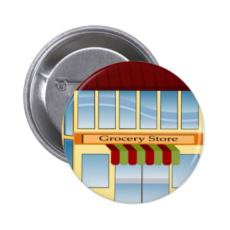Grocery Store Building Icon 6 Cm Round Badge