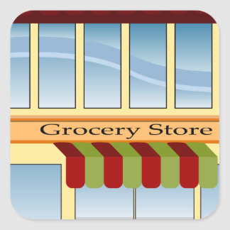 Grocery Store Building Icon Square Sticker