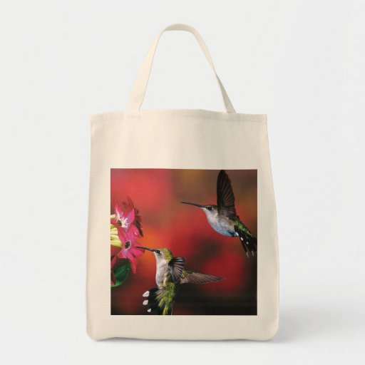 "Grocery Tote ""2 Hummingbirds "" Tote Bags"