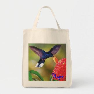 "Grocery Tote ""Blue Hope Hummingbird "" Tote Bags"