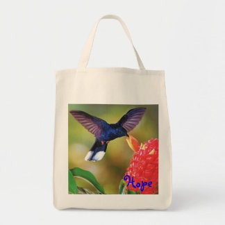 "Grocery Tote ""Blue Hope Hummingbird "" Grocery Tote Bag"