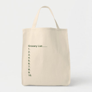 Grocery Tote/Grocery List Canvas Bag