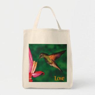 "Grocery Tote ""Love Hummingbird """