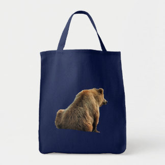 Grocery Tote navy with grizzly bear