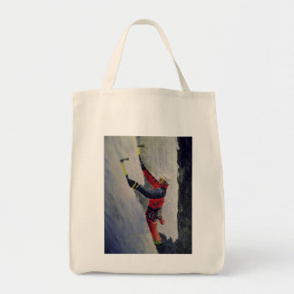 Grocery Tote with picture of an ice climber
