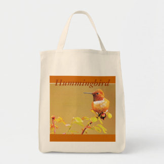 """Grocery Tote  """"Yellow Hummingbird """" Grocery Tote Bag"""