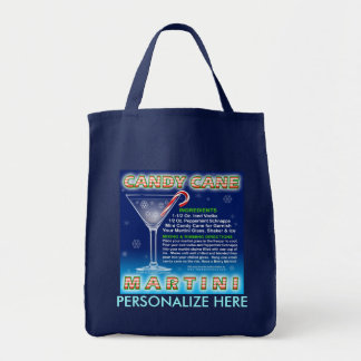 Grocery Totes - Candy Cane Martini Art Grocery Tote Bag