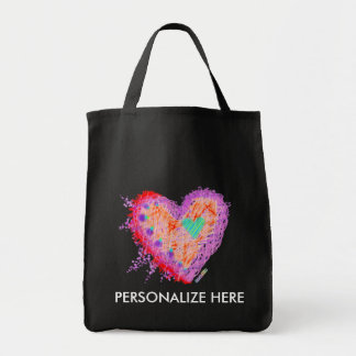 GROCERY TOTES - Happy Heart Grocery Tote Bag