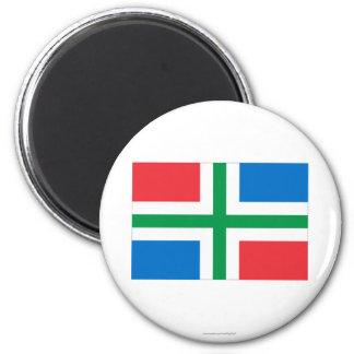 Groningen Flag 6 Cm Round Magnet