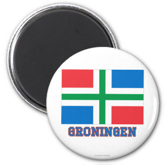 Groningen Flag with name 6 Cm Round Magnet