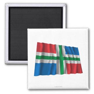 Groningen Waving Flag Fridge Magnets
