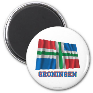 Groningen Waving Flag with Name Refrigerator Magnet