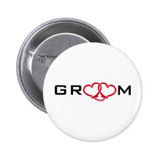 groom 6 cm round badge