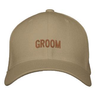 Groom baseball cap in khaki with brown font.