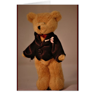 Groom beat teddy bear wedding married marriage greeting card