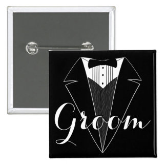 Groom Black and White Tux Wedding Party Button
