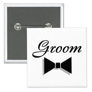 Groom Bowtie 15 Cm Square Badge