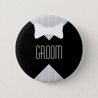 Groom Bowtie & Stripes 6 Cm Round Badge
