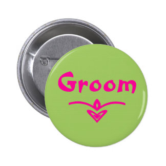 Groom Button in lime green and pink