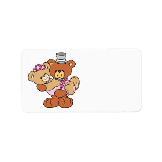 groom carrying bride cute wedding bears address label