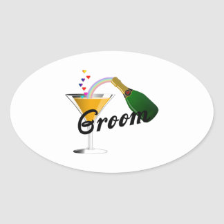 Groom Champagne Toast Oval Sticker