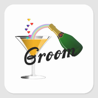 Groom Champagne Toast Square Sticker