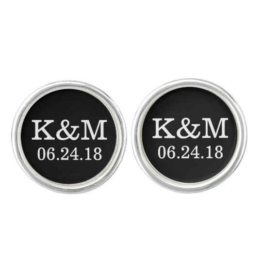 Groom Cufflinks | Wedding Initials and Date