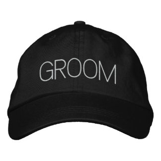 """Groom"" Embroidered Baseball Hat Embroidered Baseball Cap"