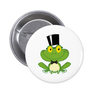 Groom Frog Cartoon Character Button