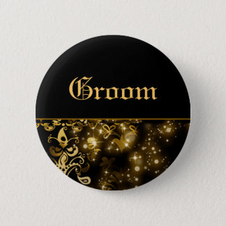 Groom gold black wedding bridal party 6 cm round badge