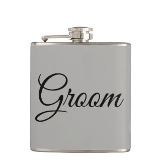 Groom Gray and Black Hip Flask