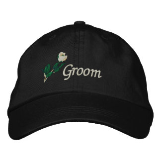 Groom Hat with White Rose Embroidered Cap
