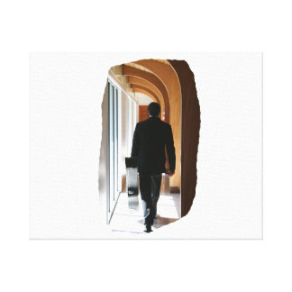 Groom in Black Suit Carrying Guitar From Back Gallery Wrap Canvas
