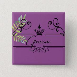 groom in plum 15 cm square badge