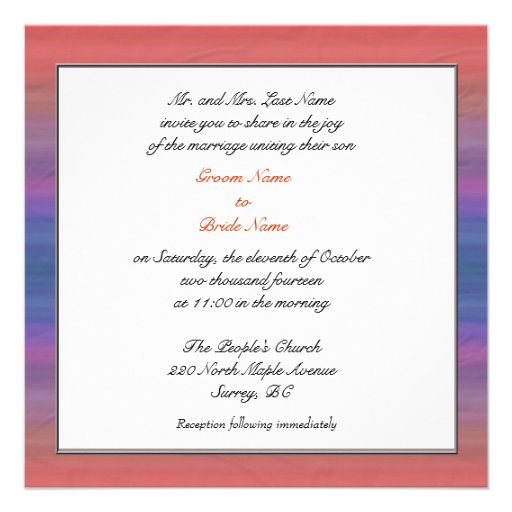 Groom parent's wedding invitations personalized announcements