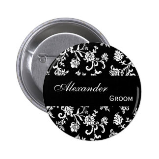GROOM Pin Button Black and White Damask