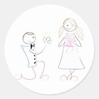 Groom Proposing to Bride Wedding Stickers