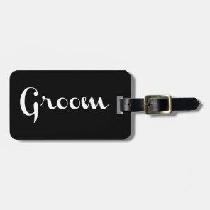 Groom Retro Script White on Black Luggage Tag