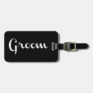 Groom Retro Script White on Black Luggage Tag