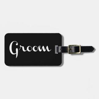 Groom Retro Script White on Black Bag Tags