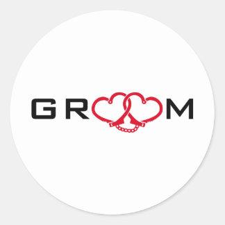 groom round sticker