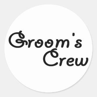 "Groom""s Crew Classic Round Sticker"