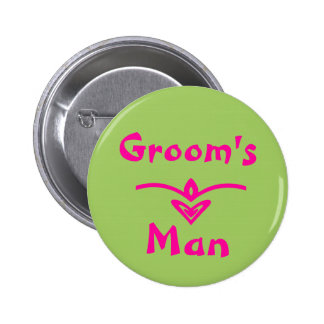 Groom s man Button in lime green and pink