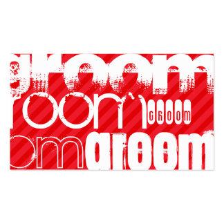 Groom; Scarlet Red Stripes Pack Of Standard Business Cards