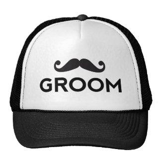 Groom text art with mustache mesh hats