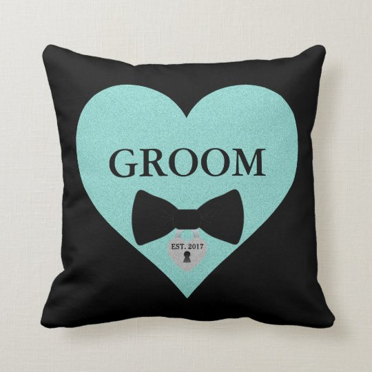 Groom to Be Party Teal Blue Heart Throw